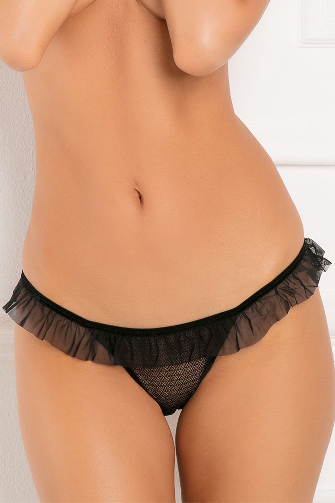 All Access Black Crotchless Panty