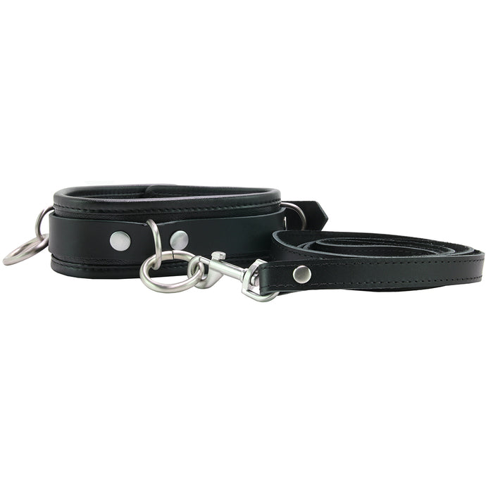 100% Leather 3 Ring Leash & Collar