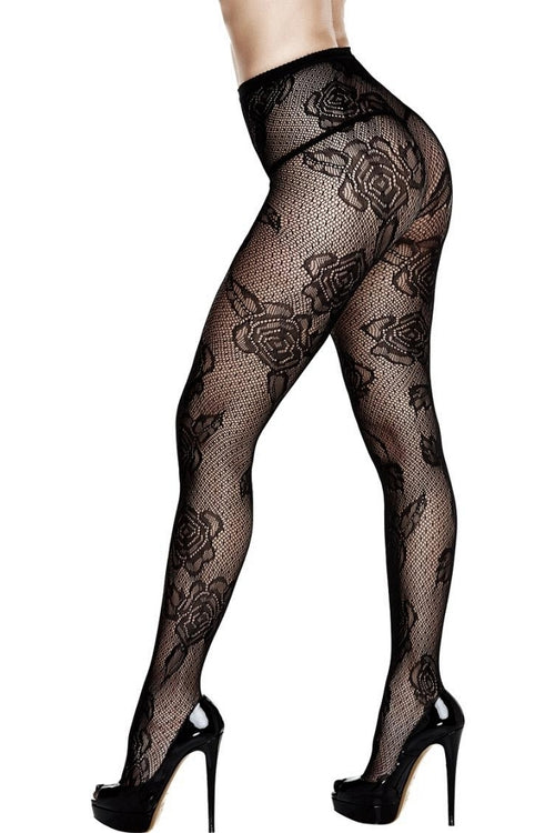 Black Dotted Floral Lace Pantyhose