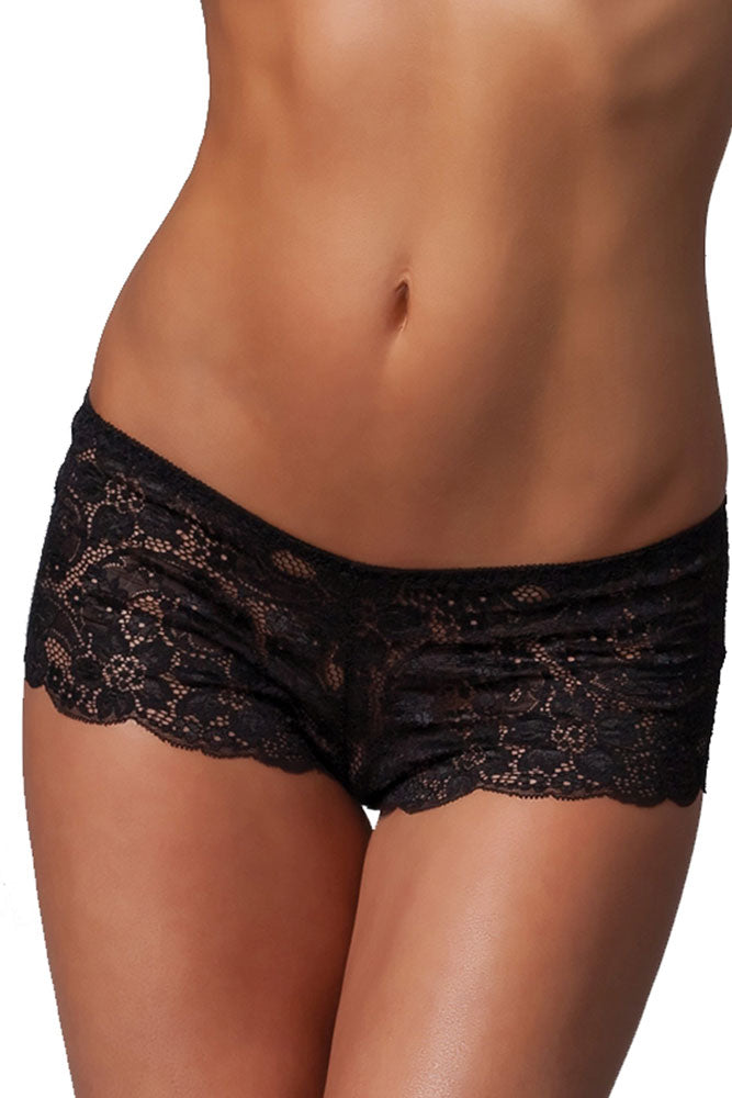 Black Lace Booty Shorts