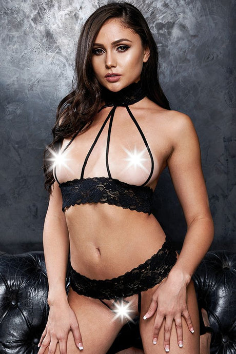 Cupless to Kill! Black Lace Bralette & G-String