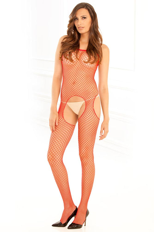 Industrial Net Red Suspender Bodystocking