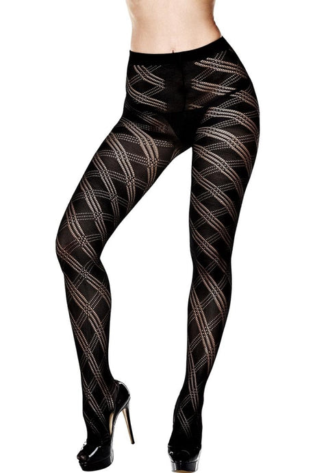 Fancy Knit Striped Pantyhose