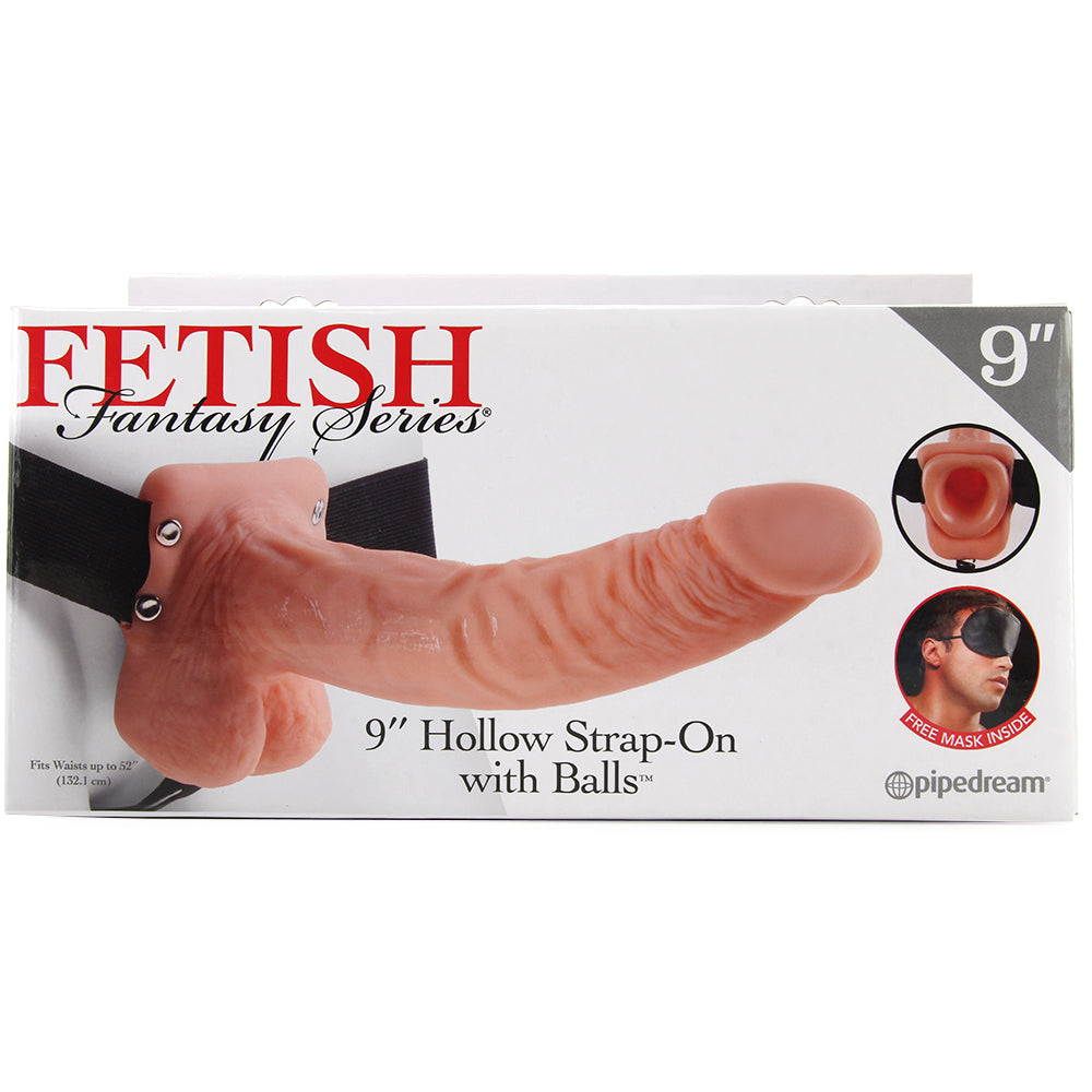 "Fetish Fantasy 9"" Hollow Strap-On with Balls"
