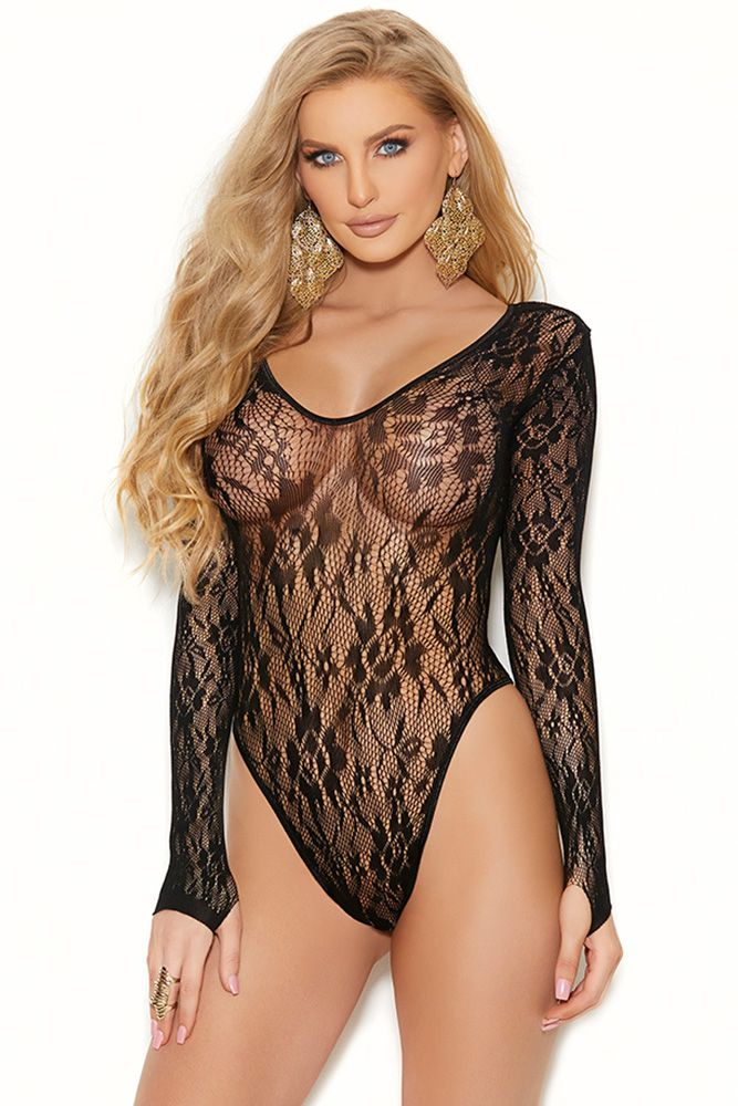 Black Eternity Rose Lace Teddy