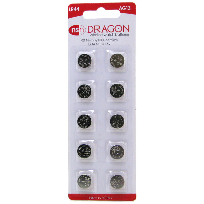 Dragon Alkaline LR44/AG13 Watch Batteries 10 Pack
