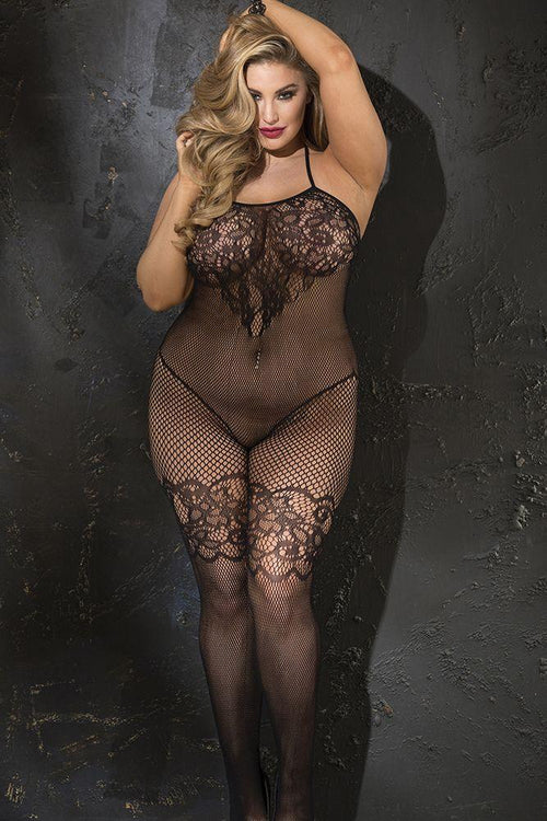 Jacquard Patterned Fishnet Open Front Bodystocking