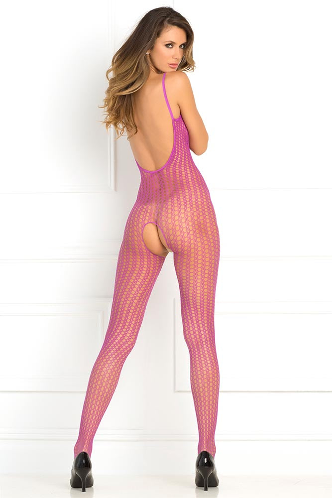 Crotchless Crochet Net Plum Bodystocking