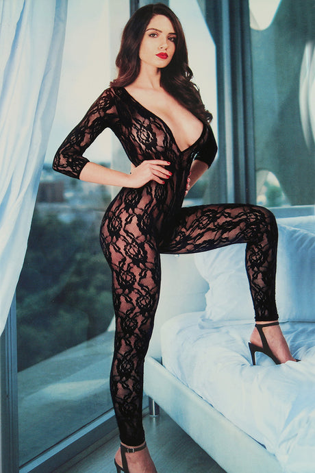 Deep Cut Lace Crotchless Bodystocking