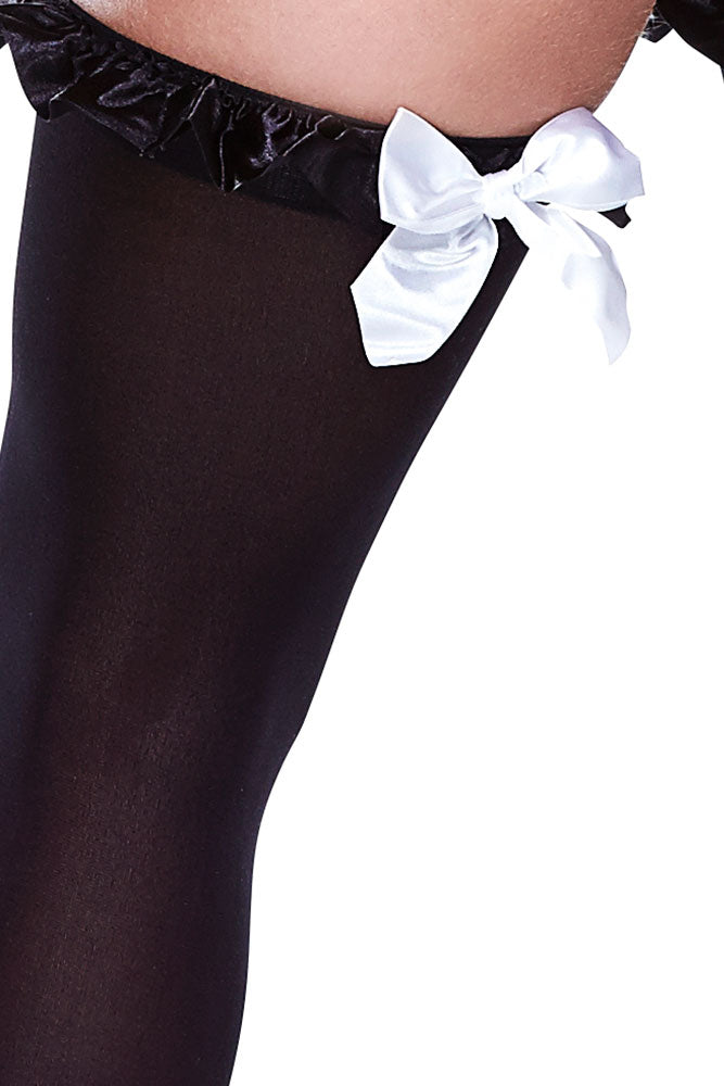 Black Opaque Ruffle Trimmed Thigh High