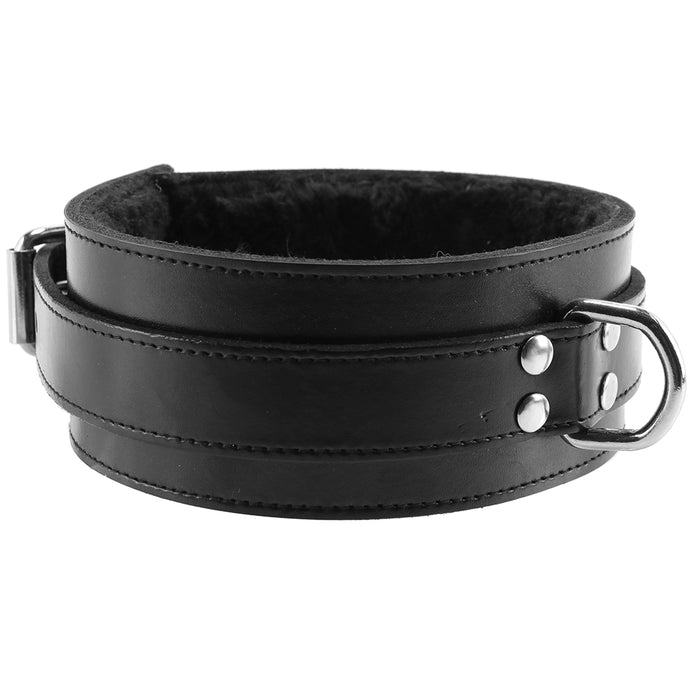 Furry Lined Leather Collar