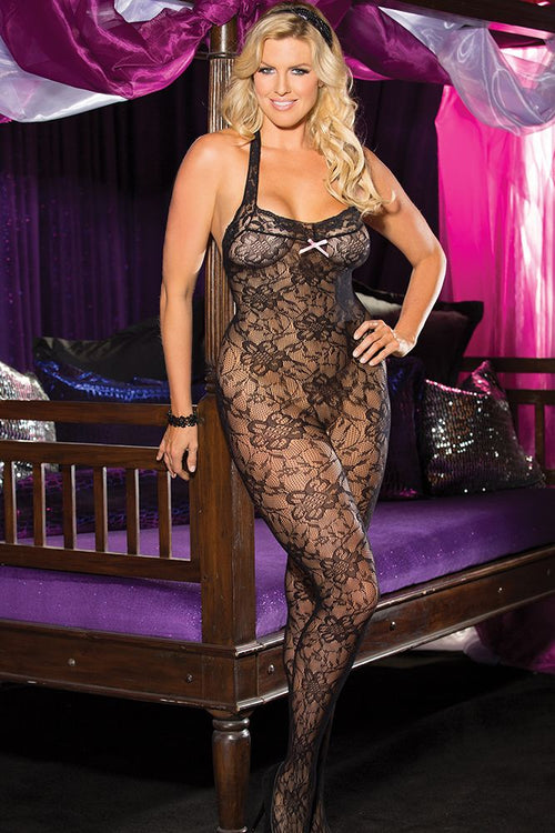 Halter Stretch Lace Open Front Bodystocking