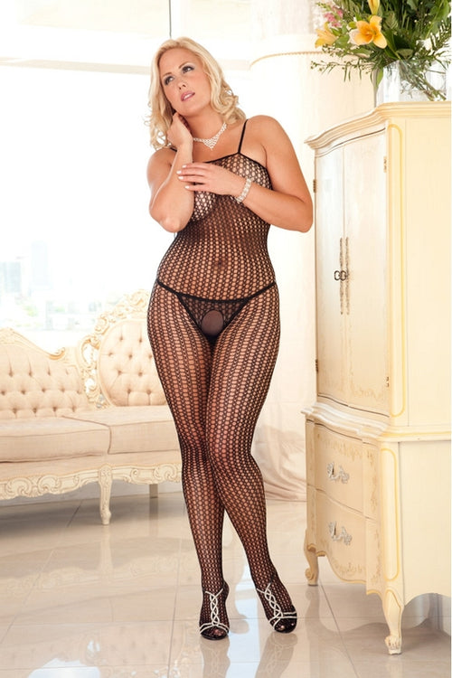 Black Quarter Crochet Net Bodystocking