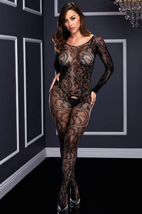 Swirling Black Lace Bodystocking