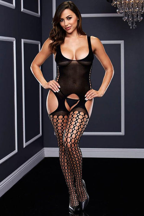 Opaque Pothole Suspender Bodystocking