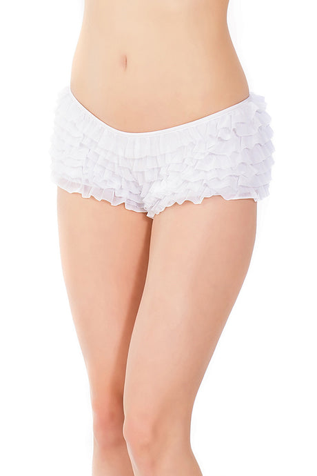 White Ruffled Booty Shorts