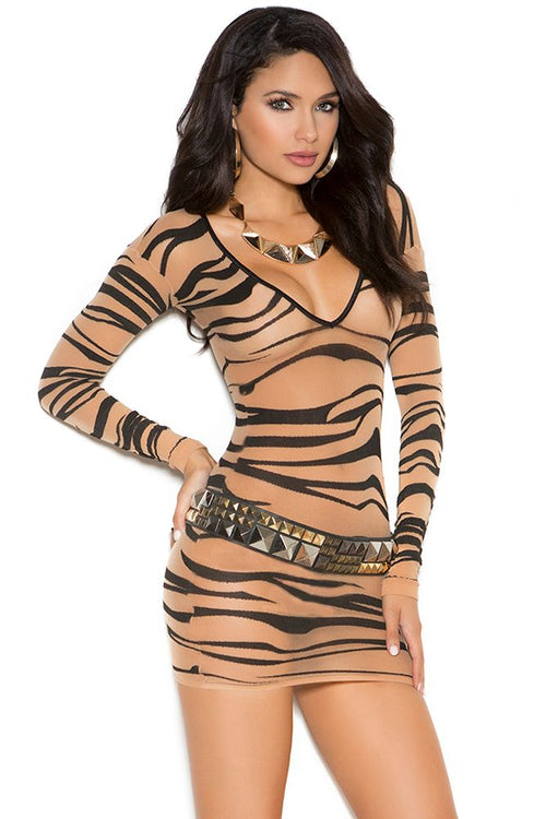 Zebra Mesh Mini Dress