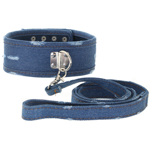 Ouch! Roughened Denim Collar and Leash