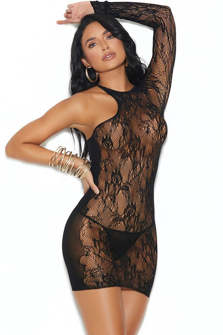Rock Me Baby Crackle Lace Mini Dress