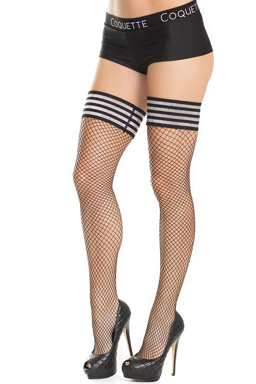 Shimmer Takes All! Stay-Up Fishnet Thigh Highs