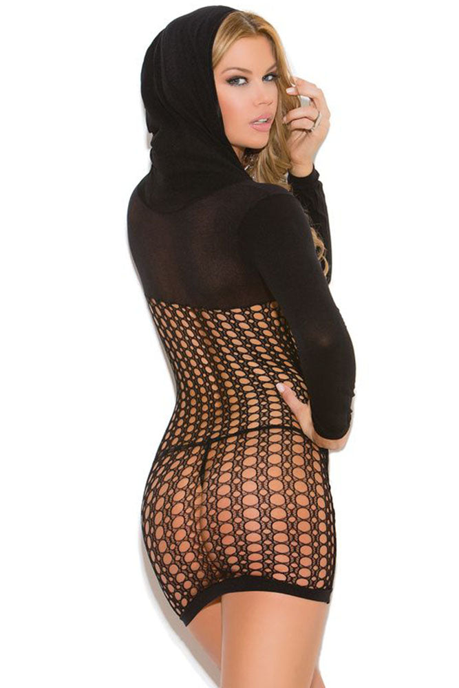 Black Crochet and Sheer Hooded Mini Dress