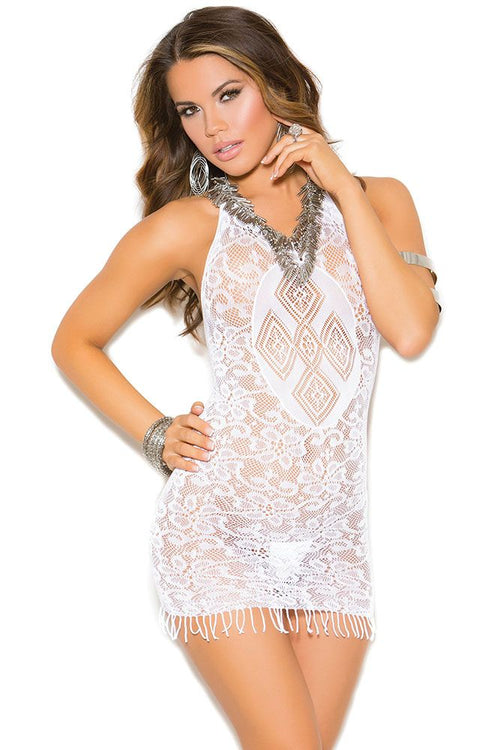 White Fringe Mini Dress