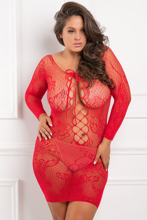 Tie Breaker Long Sleeve Red Dress