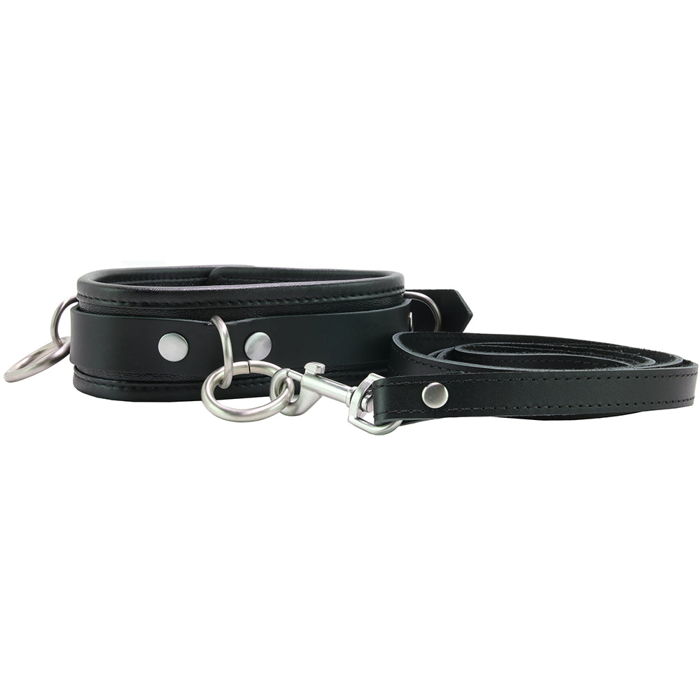 100% Genuine Leather 3 Ring Collar with Leash