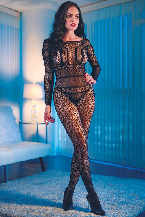 Scandal Full Length Black Lace Body Suit