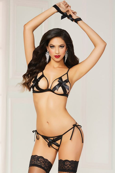 Shiny Black Satin Bow Bra and Thong Set