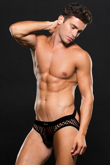 Black Modern Fishnet Open Back Brief