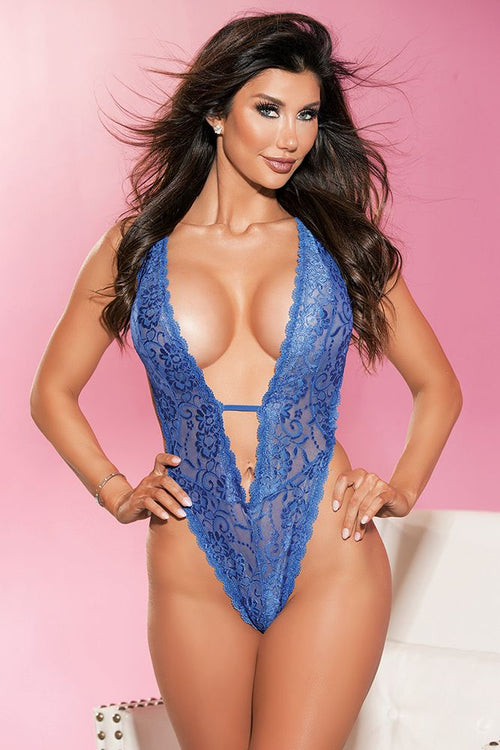 "Royal Blue Deep ""V"" Plunge Teddy"