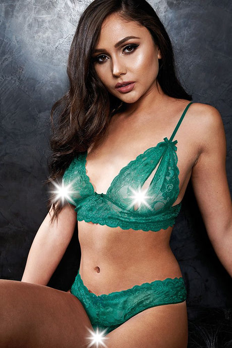 Smash Hit Teal Bralette & Crotchless G-String