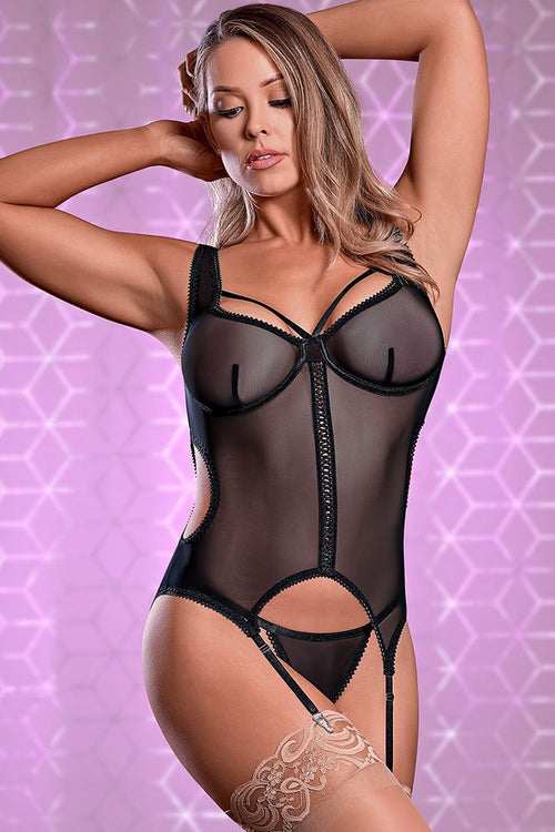 Black Merry Widow & Crotchless G-String