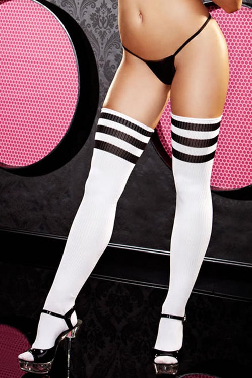 White and Black Stripe Rib Knit Thigh High Socks
