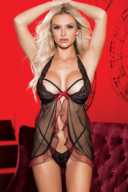 Black and Red Stretch Lace and Mesh Baby Doll