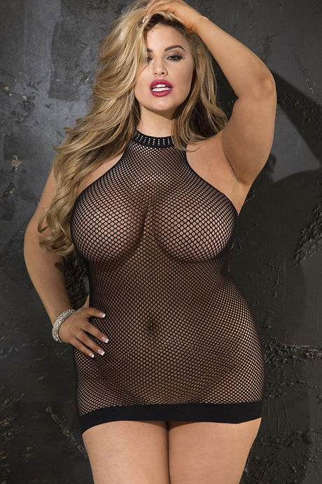 Fishnet Halter Neck Chemise with Rhinestone Trim