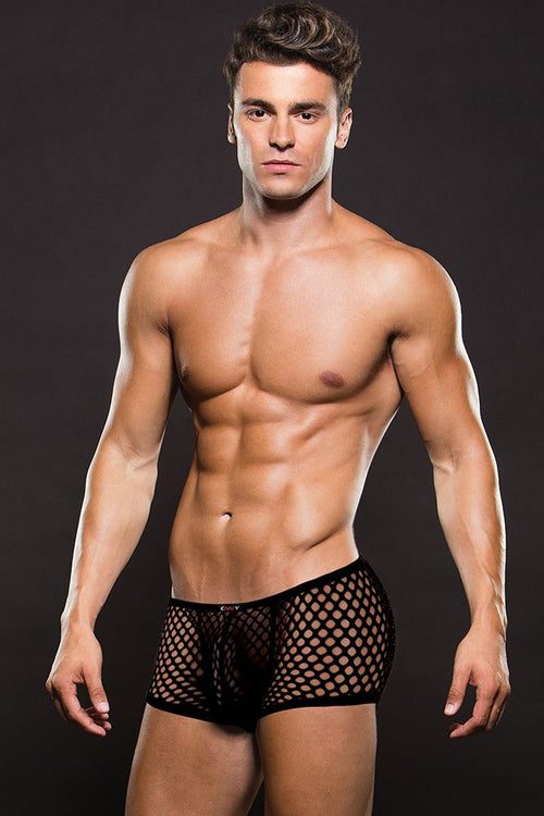 Black Modern Fishnet Trunk