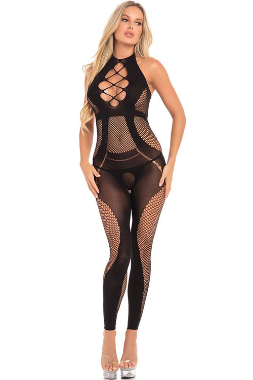 On Rails Footless Black Bodystocking