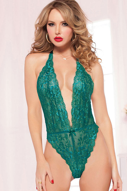 Emerald Floral Lace Teddy