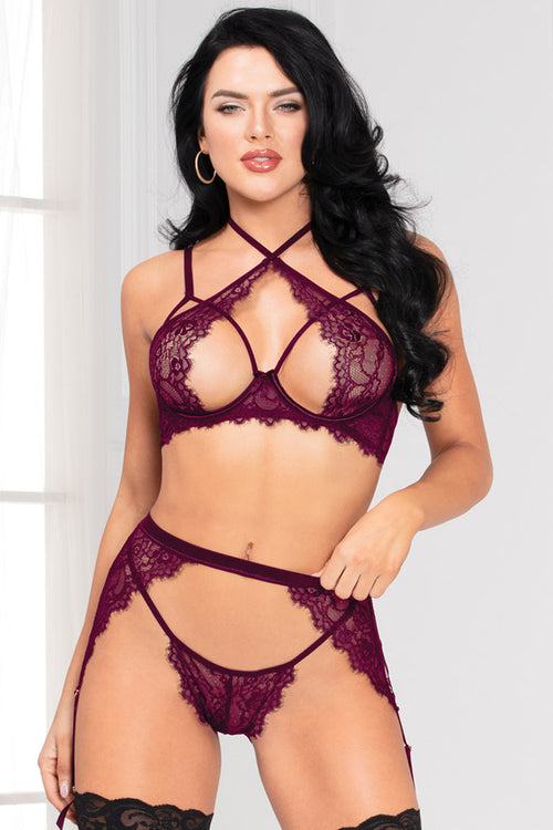 Barking Up the Wrong Three Piece Purple Bra Set