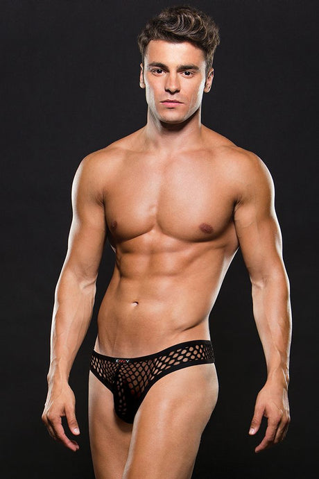 Black Modern Fishnet Thong
