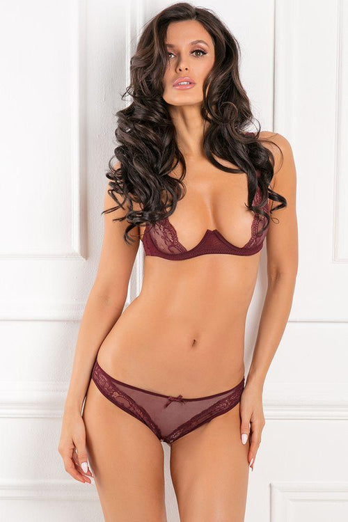 With Love Half Cup Burgundy Bra Set