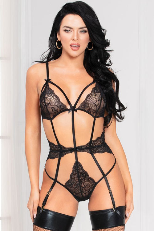 Crotchless Black Floral Lace Strappy Teddy