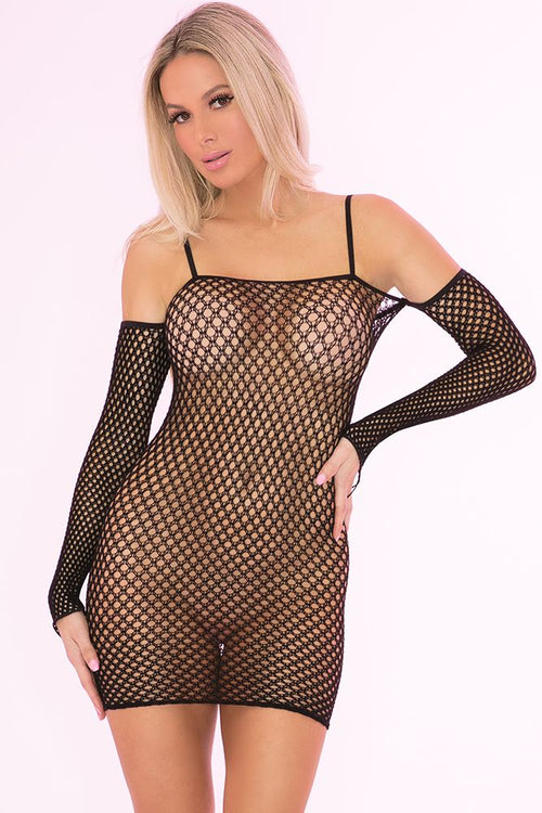 Bad Intentions Black Fishnet Dress