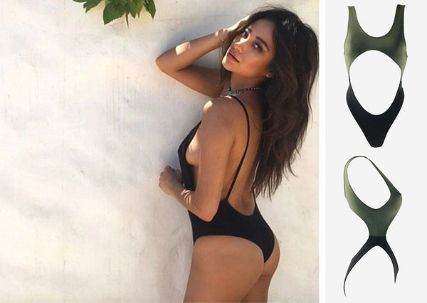 fashion, style, instagram, inspiration, look, lace, swimwear, resort, swim, summer, bathing suit, swimsuit, swimming, beach, holiday, swim wear, swim, water, cruise, sun, vacation, resort, one piece, cutout, green, army green, black, high cut, cutouts