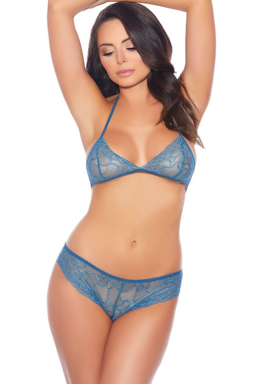 Bra My Goodness! Steel Blue Lace Set with Panty