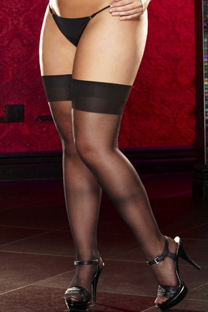 Sheer Black Thigh High Stockings