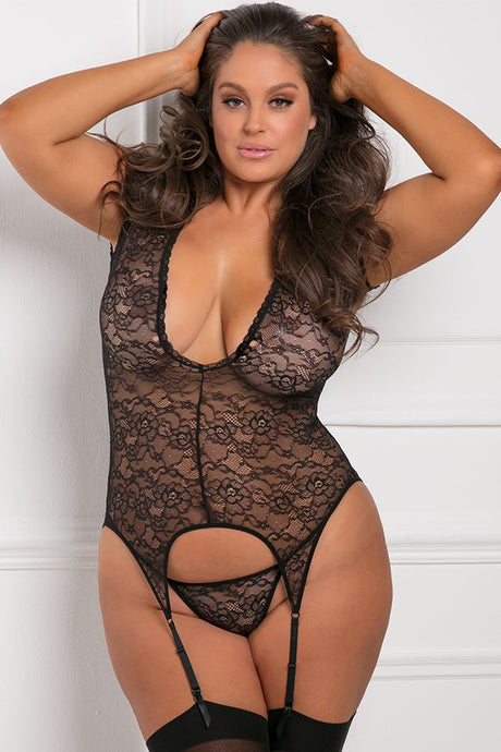 Finest of All Black Garter Chemise