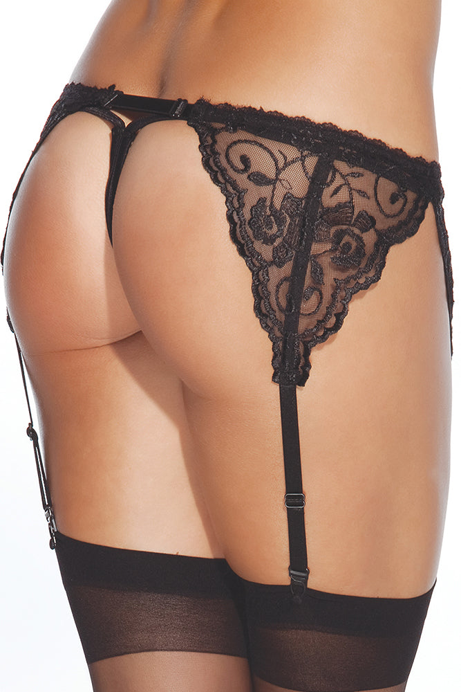 Black French Lace Garter Belt